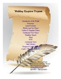 traditional wedding program wording wedding reception order of events with money weddin