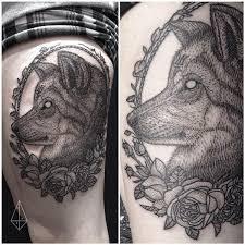 dotwork thigh tattoo by hidden moon tattoo