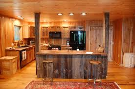 simple rustic kitchen brown striped accent walls color schemes