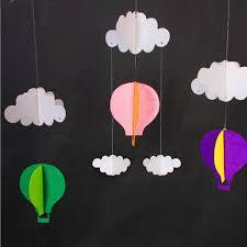 hot air balloon decorations 3m hanging pastel clouds hot air balloons bunting garland felt