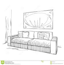 modern interior room sketch hand drawn sofa stock vector image