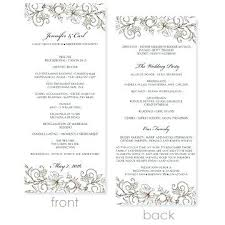 wedding program format wedding templates for word wedding program template word free