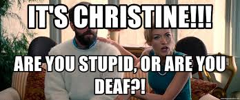 Are You Stupid Meme - it s christine are you stupid or are you deaf christinith