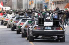 this car parade of deloreans is the coolest thing
