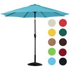 Patio Umbrella Crank 10 Feet Outdoor Aluminum Patio Umbrella Turquoise