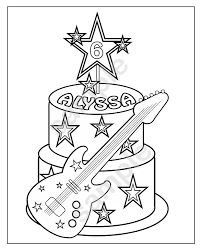 personalized printable rockstar cake birthday party favor