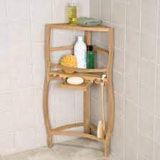 Bathroom Vanity Pull Out Shelves by Freestanding Teak Curved Corner Shower Shelf With Pull Out Soap