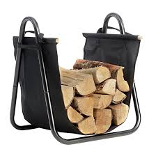 amazon com fireplace log holder with canvas tote carrier indoor