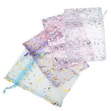 organza gift bags assorted silver gold design organza drawstring gift bags 4x6