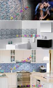 Blue Glass Kitchen Backsplash Sea Blue Glass Mosaic Gray Marble Stone Tile Kitchen Backsplash