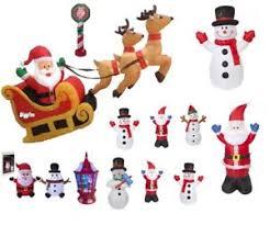 large inflatable light up santa sleigh snowman outdoor christmas