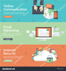 Homepage Design Concepts Flat Design Concepts Online Communication Social Stock Vector