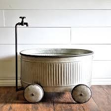 rustic corrugated metal wagon planter antique farmhouse