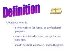 Letter Meaning In business letter
