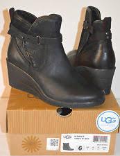 nib ugg australia emalie wedge waterproof ankle boot black zip ugg australia wedge ankle boots for ebay