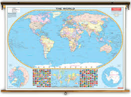 The World Political Map by Oversized World Political Map On Spring Roller From Kappa Maps Map
