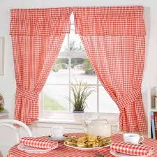 Red Kitchen Curtain by Red And White Gingham Kitchen Curtains