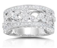 antique design rings images Antique design half carat wedding ring band for her in white gold jpg