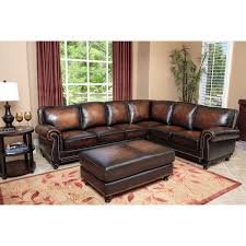 venezia leather sectional and ottoman abbyson living sk 5304 brn set nizza woodtrim hand rubbed leather