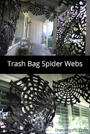trash bag spider webs easy halloween decor spooky spider webs