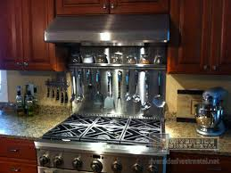 kitchen simple plain stainless steel backsplash design with