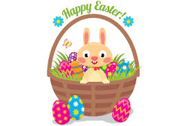 easter bunny baskets easter bunny in a basket with eggs illustrations creative market