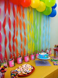 Decoration Ideas For Birthday Party At Home Interior Design Rainbow Themed Birthday Party Decorations Nice