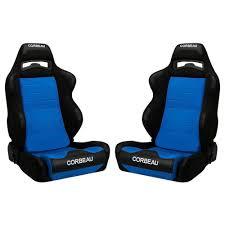 Blue And Black Mustang Corbeau 25505 Mustang Seat Reclining Lg1 Black Blue Cloth Pair