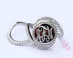 monogrammed rings silver silver monogram ring etsy