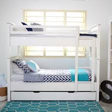 bedroom furniture white wood double bunk bed with trundle and