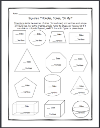 1st grade worksheet on plane shapes and solid figures geometry