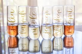 stemless champagne flutes set of personalized bridesmaids stemless champagne glasses