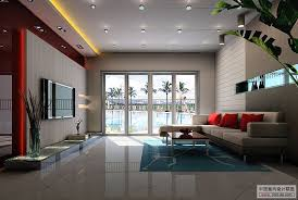 Living Room Modern With Tv A White Couch Vintage Accents Carpet - Interior design modern living room