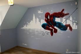 deco peinture chambre enfant déco sur la ville fresque murale