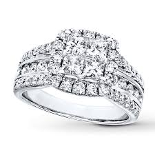 engagement rings diamond diamond engagement ring 2 ct tw princess 14k white gold