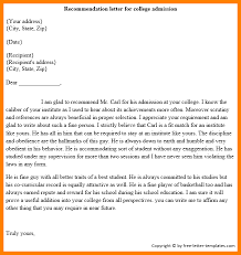 Letter Of Recommendation Template For College Admission 7 College Letter Of Recommendation Template Assembly Resume
