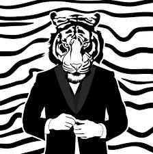 human tiger drawing black white design free vector in adobe