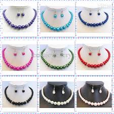 colour pearl necklace images 2018 mixes color mother of pearl necklace earrings jewelry set 6 jpg
