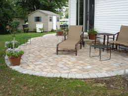 admirable paver patio ideas in the frontyard with modern furniture