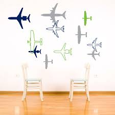 airplane wall sticker decal vinyl plane wall decor sticker zoom