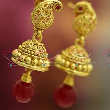 gold jhumka earrings design with price j3223 light weight handmade gold design plated delicate fancy