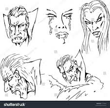 vector lineart various vampire faces male stock vector 1170930