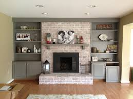 decor u0026 tips painted bookshelves and brick fireplace with mantel