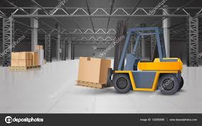Warehouse Interior by Warehouse Interior And Logistics Background U2014 Stock Vector