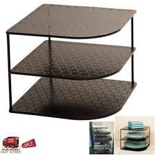 3 tier kitchen cabinet organizer perforated gun metal corner shelf 3 tier counter top cabinet