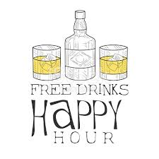 bar happy hour promotion sign design template hand drawn hipster