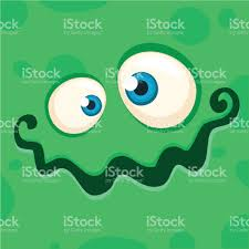vector halloween cartoon monster face vector halloween green monster avatar stock