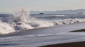 seascape kamchatka peninsula view of the beach of volcanic sand