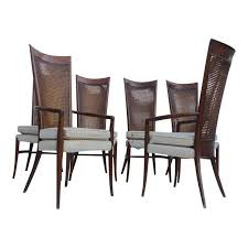 Cane Back Dining Room Chairs Robsjohn Gibbins Style Teak Cane Tall Back Dining Chairs Set Of 6