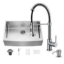 home depot faucets for kitchen sinks vigo all in one farmhouse apron front stainless steel 33 in